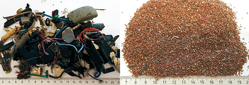 ASR is a mix of cables, hair wires, plugs, connectors, PCB, plastic  and organic residue (left) / According to the Dutch processor, fine particle sizes give  the highest copper grades (right) - Photo: ARN/swissRTec
